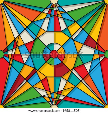 Stained glass design, seamless pattern - stock photo