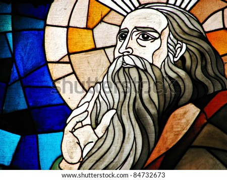 Stained Glass Detail of Prophet Elijah - stock photo