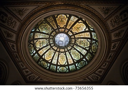 Stained glass dome in Chicago Cultural Center - stock photo