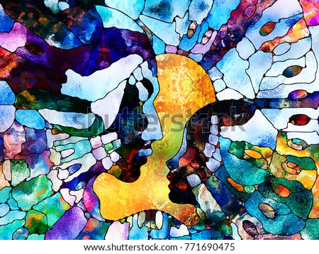 Stained Glass Forever series. Adult and child profiles divided and merged by mosaic reality on the subject of education, parenting and unity of life.
