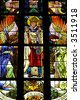Stained glass from the church. - stock photo