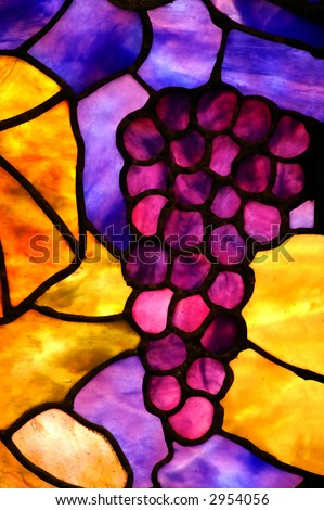 Stained Glass Grape Cluster - stock photo