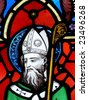 Stained glass image, St. Patrick - stock photo
