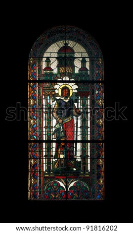 Stained glass in a church - stock photo