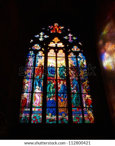 stained glass in cathedral - stock photo