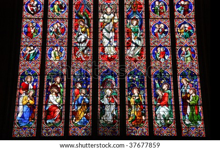 Stained glass in Melbourne - St. Patrick's Cathedral. Jesus, apostles and saints. - stock photo