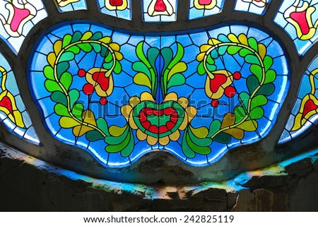 stained glass in Synagogue of Subotica, Serbia - stock photo