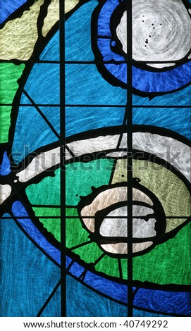 Stained glass in the Church of the Holy Cross, Zagreb - stock photo