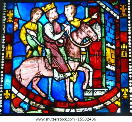 Stained glass,King on horseback, 		Cloisters,	New York City