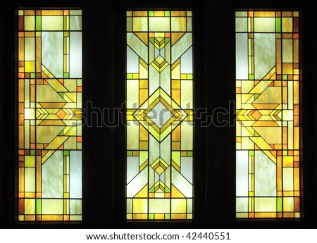 Stained-glass,Light source in a hall. - stock photo