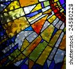 stained glass panel of church - stock photo