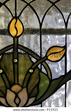 Stained glass panel of tulip in the Art Nouveau or Art Deco style.