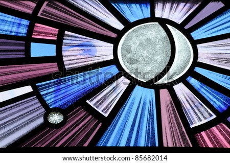 stained glass pattern in historical church, victoria, british columbia, canada - stock photo