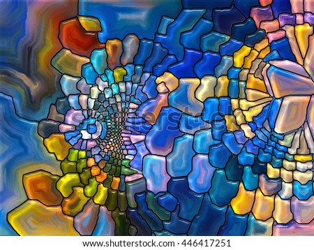 Stained Glass Pattern series. Abstract design made of virtual stained glass fragments on the subject of art, craft and design