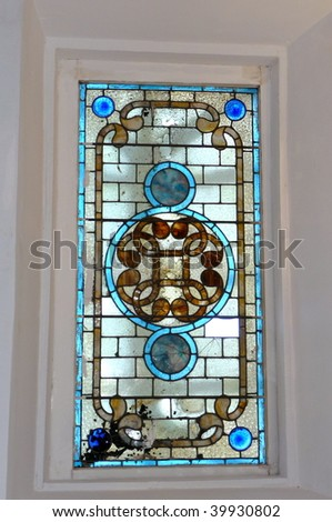 stained glass skylight - stock photo
