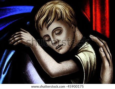 Stained glass sleeping child - stock photo