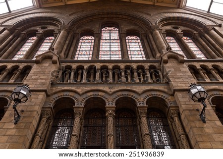 Stained Glass Stone Building - stock photo