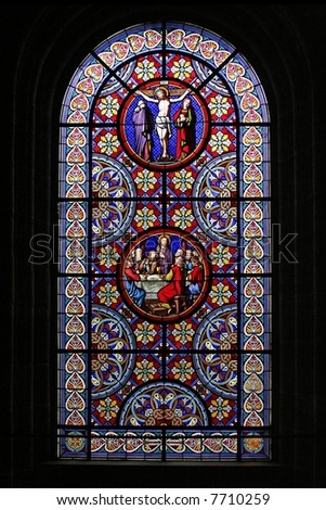Stained Glass Temple Window - stock photo