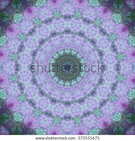 Stained glass themed fractal mandala, digital artwork for creative graphic design - stock photo