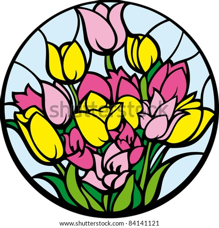 Stained-glass tulips. A bouquet of tulips looks like a stained-glass window. - stock photo