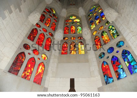 Stained glass window at the entrance of the Sagrada Familia in Barcelona