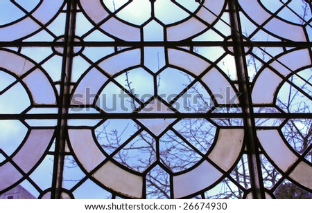 stained glass window birmingham cathedral - stock photo