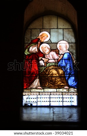 Stained glass window. Church of St. Joseph. - stock photo