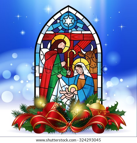 Stained glass window depicting Christmas scene against a luminescent blue background with decorations. Christmas greeting card - stock photo