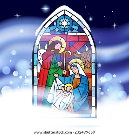 Stained glass window depicting Christmas scene against a might snow storm background. Christmas greeting card. - stock photo