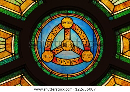 Stained Glass Window Depicting Doctrine Holy Stock Photo Royalty