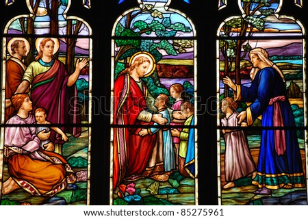 Stained glass window depicting Jesus