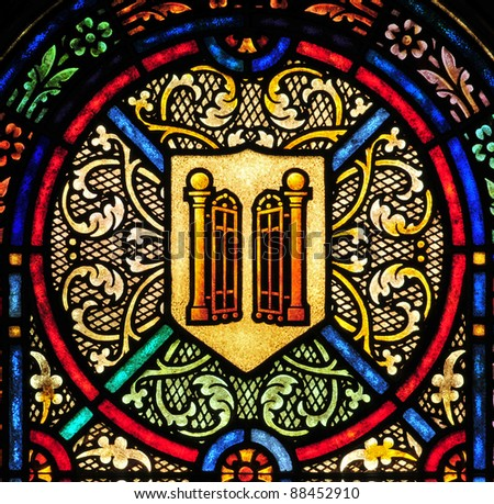 Stained glass window design detail with golden gates, heavenly  gates - stock photo