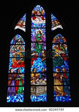 Stained glass window in Catedral de la Almudena, Madrid