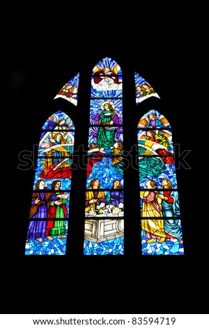 Stained glass window in Catedral de la Almudena, Madrid , Spain