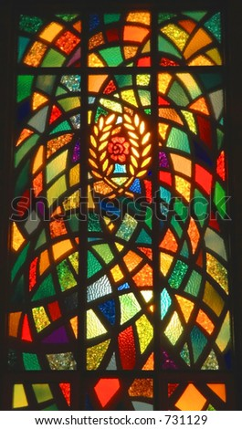 Stained glass window in church - stock photo