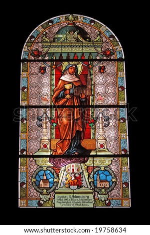 Stained-glass window in German Church, Stockholm, Sweden