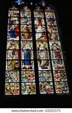 "Stained glass window in ""Koelner Dom"" Cologne Cathedral, Germany"