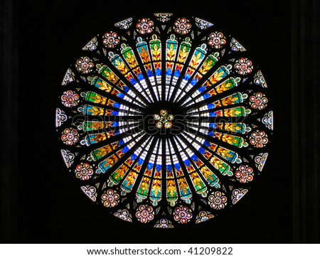 Stained-glass window in Strasbourg Cathedral (Strasbourg, France). - stock photo