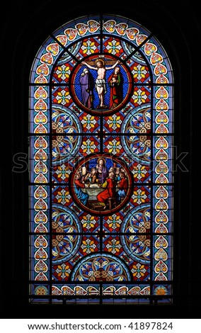 Stained-glass window in the Basel Munster (Switzerland). - stock photo