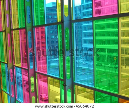 Stained glass window in the city