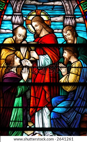 Stained glass window of Last Supper from 1899