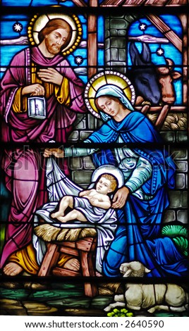 Stained glass window of Nativity from 1899 - stock photo