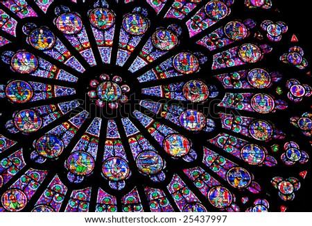 Stainedglass Window Notre Dame De Paris Stock Photo 25437997