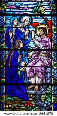 Stained glass window of Resurrection Angel from 1899