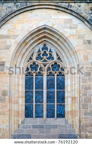 stained glass window of St.Vitus Cathedral, Prague - stock photo
