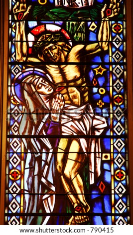 Stained Glass Window of the Crucifixion of Jesus Christ - stock photo