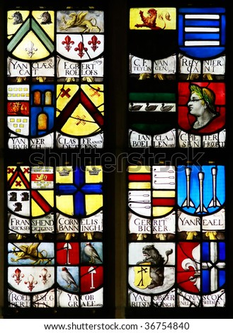 Stained Glass Window, Oude Kerk (Old Church), Amsterdam - stock photo