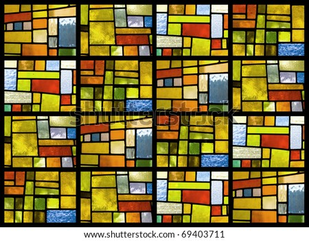 Stained glass window pattern in a greenish tone - stock photo