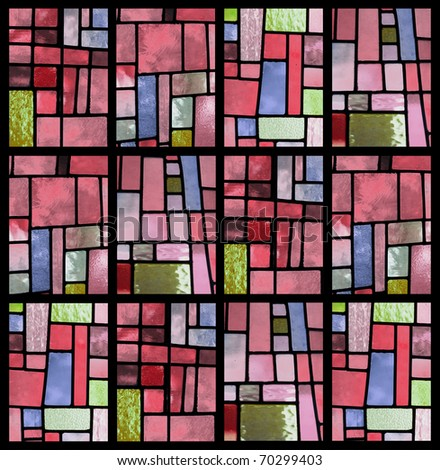 Stained glass window pattern with a pink tone - square format - stock photo