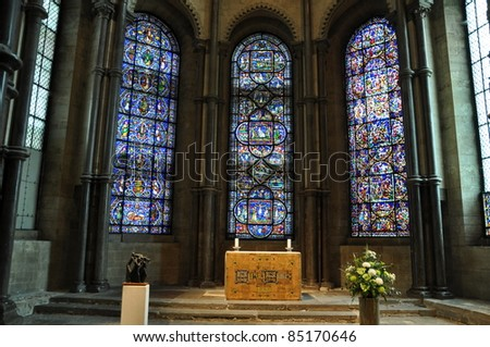 Stained Glass Windows at Canterbury Cathedral, England - stock photo